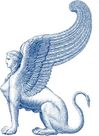 antyk: Statua Sphinx Ilustracja