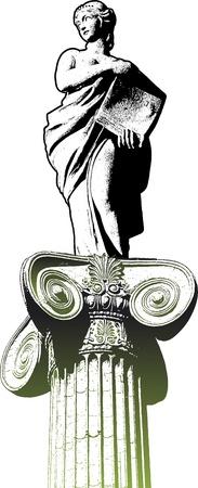 escultura romana: Estatua femenina y cl�sica columna