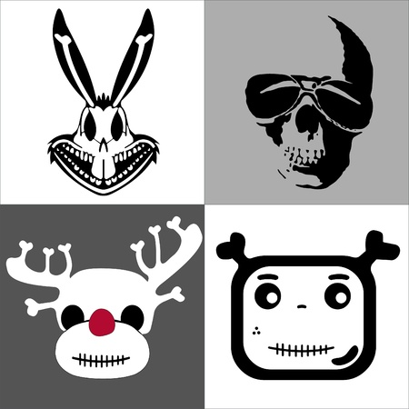 set skulls in comic style Vector