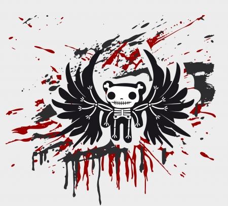 dead body: Grunge background with teddy in bones