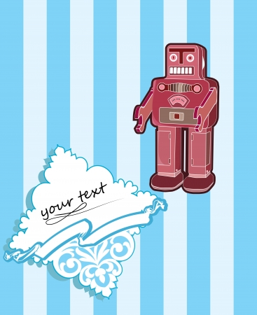 robot card with baroque elements Vector