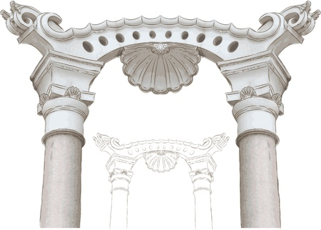archway:  classic arch and columns sketch