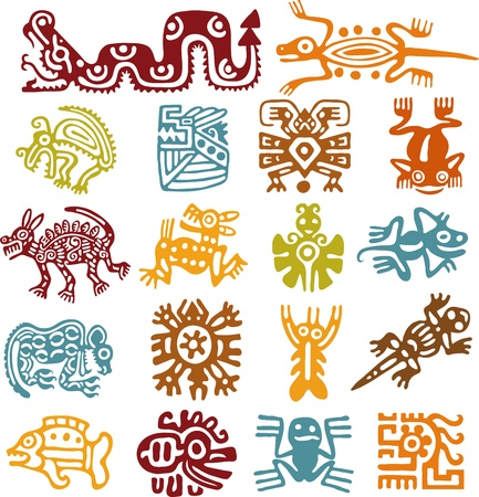 dragon fish: Set - mexican symbols Stock Photo