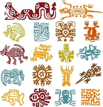 aztec art: Set - mexican symbols Stock Photo