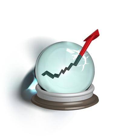 magic ball: Broken magic crystal ball and finance arrow