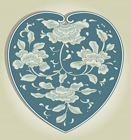 Asian heart ornament Vector