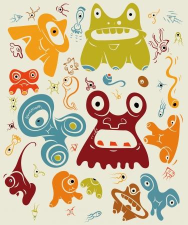 Doodle monsters Vector