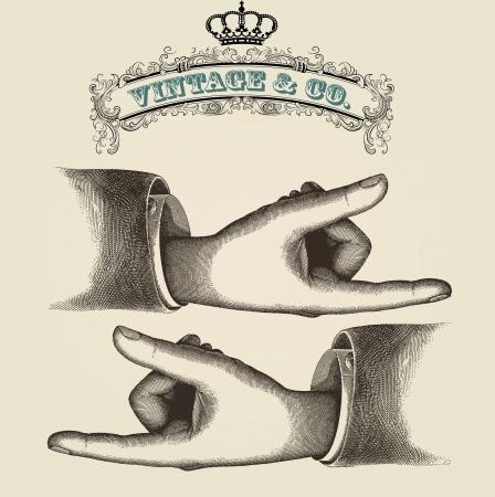 gravure: Dita di puntamento, illustrazione retro