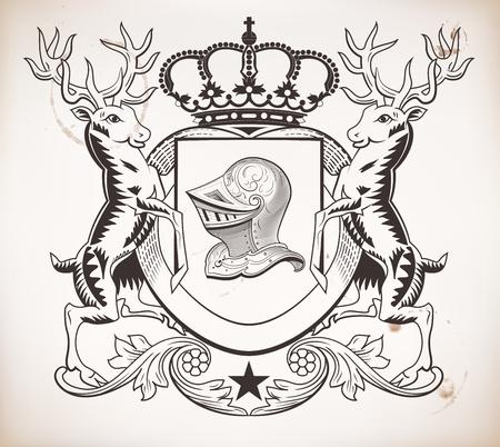 patron: Herealdic shield  Crown and helmet elements