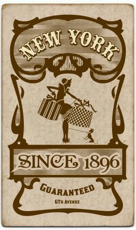 victorian fashion: Old retro card Illustration