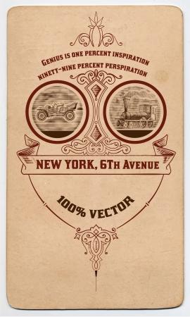 ephemera: Vintage carta di ornamenti floreali Vecchia carta di texture di sfondo, treno Incisione e auto