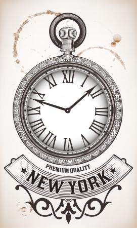 old timer: Pocket clock Illustration