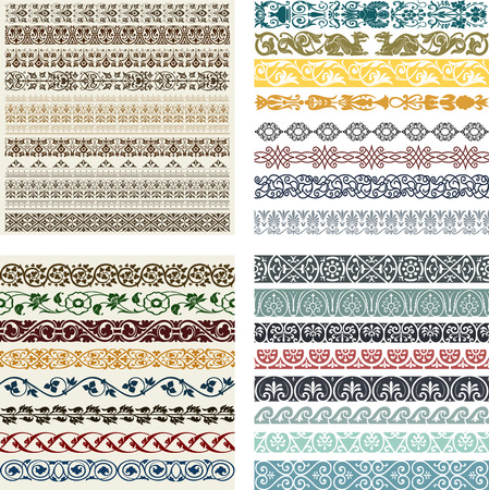 baroque border: Retro lines set