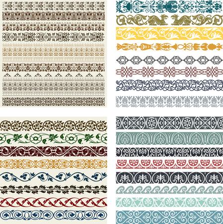 scroll border: Retro lines set