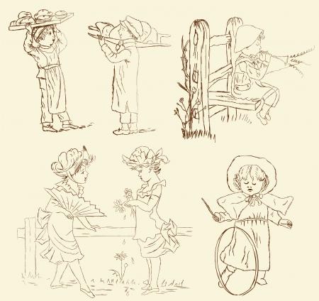 vintage children: Vector set of retro, vintage children illustration