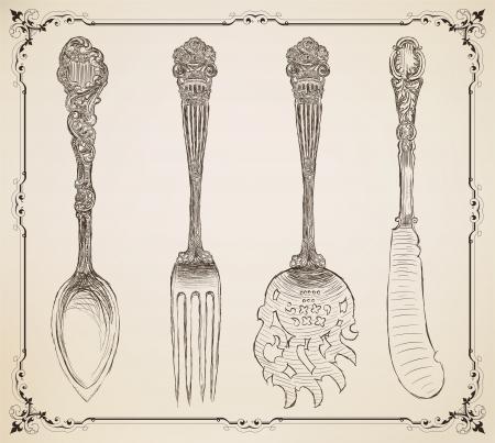 vintage dishware: Cutlery, doodle style