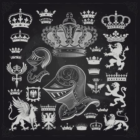 corona rey: Los elementos de diseño vectorial Vectores
