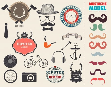 Vector Hipster style design elements and icons set. Sunglasses, mustache, bow, anchor, hat, camera, bike. Organized in layers.