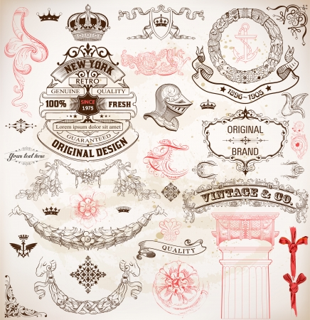 vintage borders: Retro design set, floral and heraldic details   Illustration