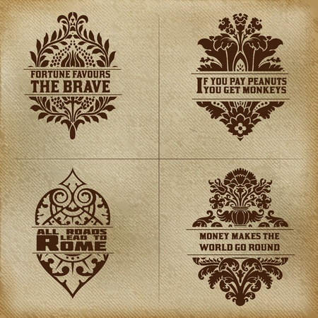 baroque frame: Banner set  Old fabric and floral elements organized by layers  Illustration