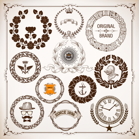 anchor man: vector set of laurel wreaths isolated and design elements
