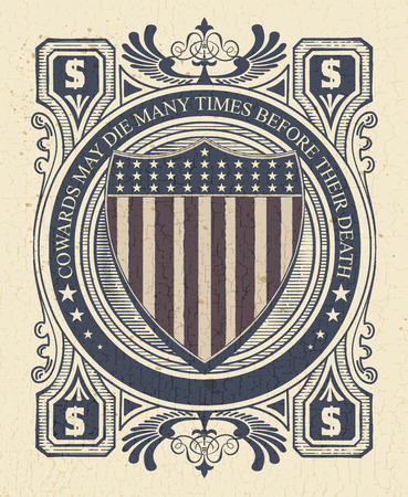 shipped: Vintage Style card with USA shield. Elemenets organized by layers.