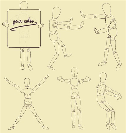 dummies: Set of  wooden model in various actions