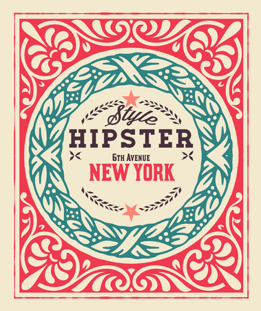 Baroque ornaments and floral details, Hipster card. Vector