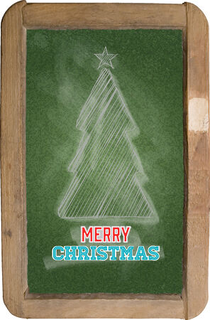 Vector. Christmas greeting, little blackboard and chalk on green background. Elements organized by layers. Vector
