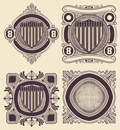 shipped: Vintage Style card with USA shield. Elements organized by layers.
