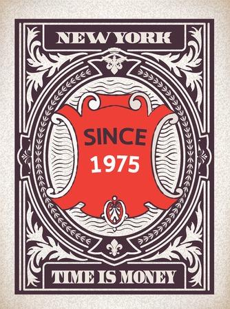 ephemera: Card design retr� con dettagli floreali e araldici. Organizzato da strati. Vettoriali