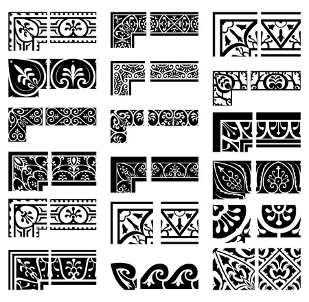 symmetrical design: Borders and corners set. Baroque and classical style