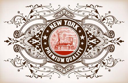Retro banner. Old train engraving