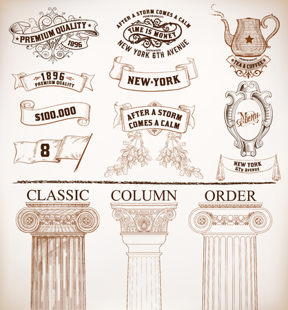 estilo: Vector. Conjunto de elementos retros: marcos barrocos, pancartas y etiquetas retro, columnas clásicas, bandera, la tetera.
