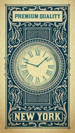 Old baroque card. Floral and watch details Vector