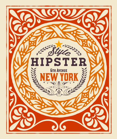Baroque ornaments and floral details, Hipster card