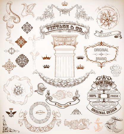 Vector  Set of retro elements  baroque frames, banners, retro labels, classic column  Vector
