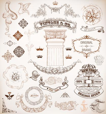 Vector  Set of retro elements  baroque frames, banners, retro labels, classic column  Vector