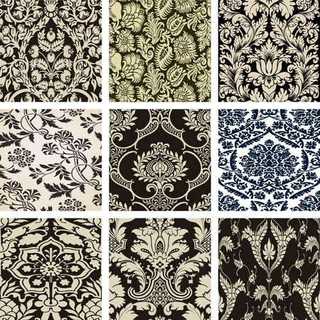 arabesque wallpaper: Set damasko paterns