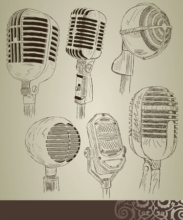 retro microphone: Retro microphone set Illustration