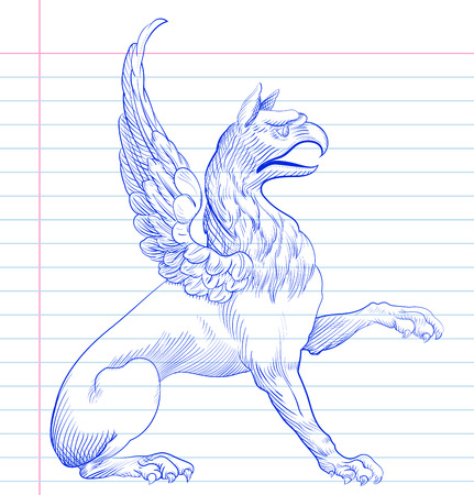 mythical: Griffin Hand drawing  Illustration