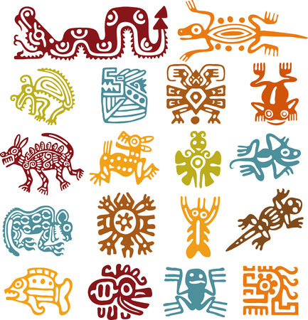 aztec: Set - mexican symbols Illustration