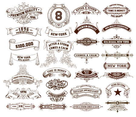 shield: 29 Labels and banners  Vector Illustration