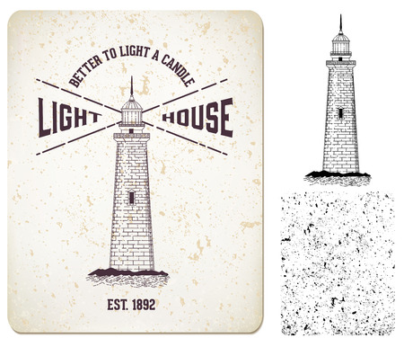 spire: Vector. vintage label lighthouse