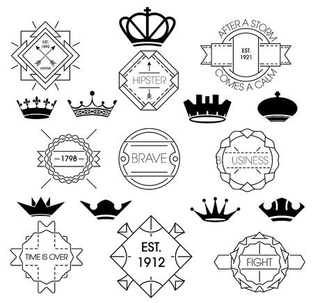 Minimal vintage labels and royal crowns Vector