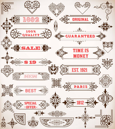 Set of calligraphic design elements: Labels, banners, baroque frames and floral ornaments collection photo