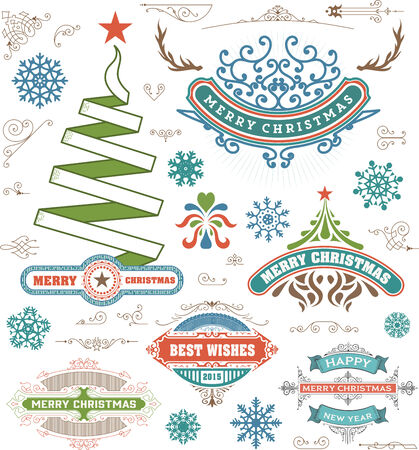 Christmas decoration design elements. Merry Christmas and happy holidays wishes. Vintage labels, frames, ornaments and ribbons, set. Vector