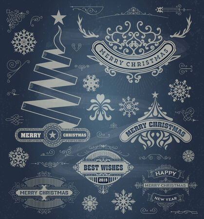 happy new year text: Christmas decoration design elements. Merry Christmas and happy holidays wishes. Vintage labels, frames, ornaments and ribbons, set over chalkboard Illustration