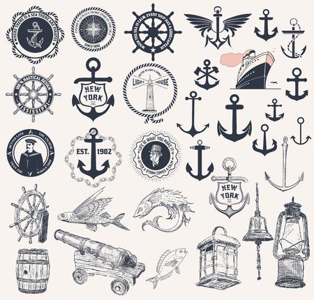 Vector. Set of nautical elements  イラスト・ベクター素材