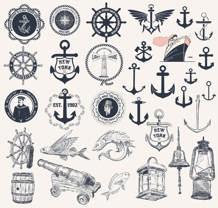 Vector. Set of nautical elements Stock Illustratie